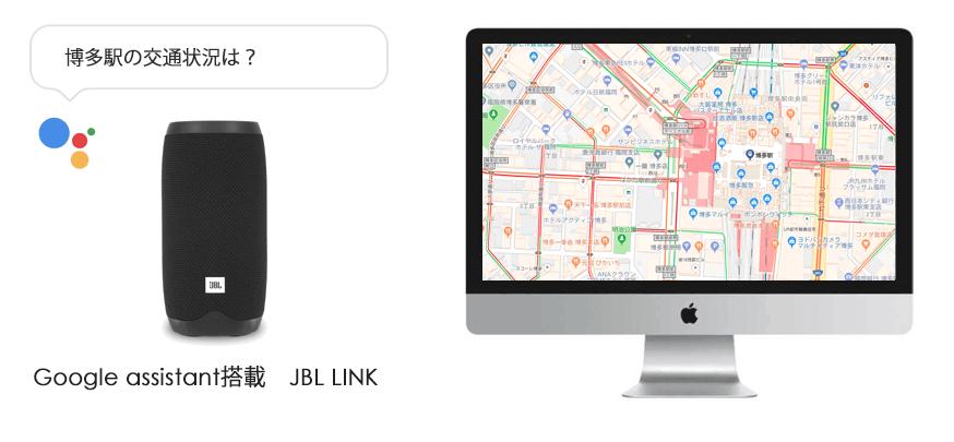 JBL LINKの交通状況・経路・フライト情報機能