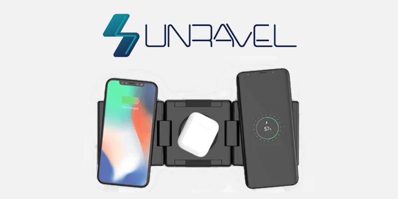 1つのワイヤレス充電器で3台同時に高速充電できるUnravel(アンラベル)